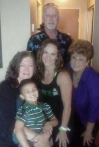 Me, our nephew, my little sister, her mother and my hubby